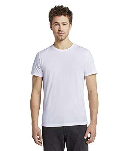 TOM TAILOR Herren Doppelpack Crew Neck T Shirt, Weiß, M