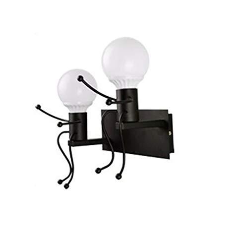 Lámpara de pared Pared, abrazo de muñeca de moda para niños Lámpara de pared Sala de estar moderna Lámpara de pared de cabecera creativa Simplemente inspiradora / Regalo (blanco / NEGRO) Sin bombill