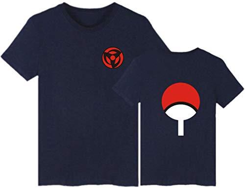 EMILYLE Hombres Naruto Uchiha Camiseta Top Tshirt Clan Syarinngann Japón Cómico Casual DeportivaL,Azul Oscuro Uchiha Clan