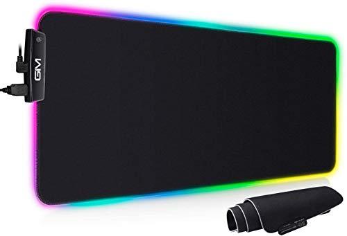 ICETEK Alfombrilla de ratón para videojuegos XL LED RGB, 800 x 300 x 5 mm, 14 modos de iluminación, ratón, iluminación, teclado, entrada extra USB para ratón, teclado o teléfono móvil