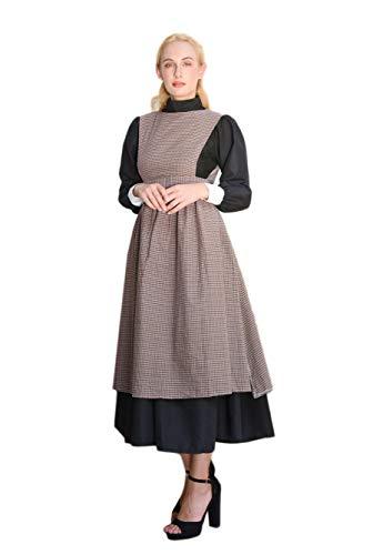 Fantasia adulta de peregrino histórica de peregrino vestido feminino pioneiro colonial vestido preto peregrino, Avental xadrez, G