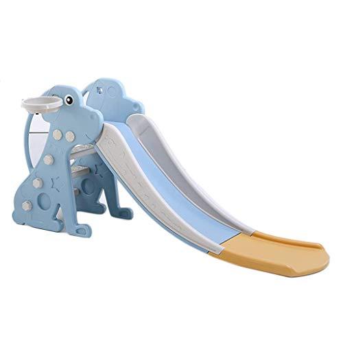 XIUYU Freestanding Slides Children's Slide Multi-function Indoor Home Basketball Stand Slide Combination Small Game House Plus Long Slide Gift (Color : Blue, Size : 185 * 46 * 84cm