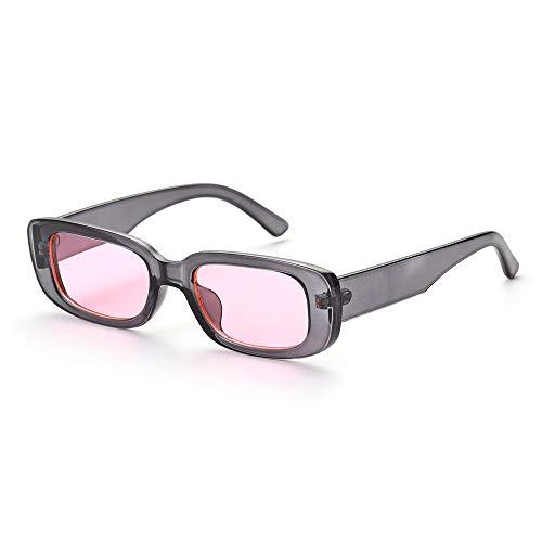 LYYCEU 2021 Nuevos Viajes Retro Mujeres Hombres Senderismo Gafas de Sol Chic Pequeño rectángulo Gafas de Sol UV 400 Gafas al Aire Libre de Sombra de Leopardo Negro (Color : C05)