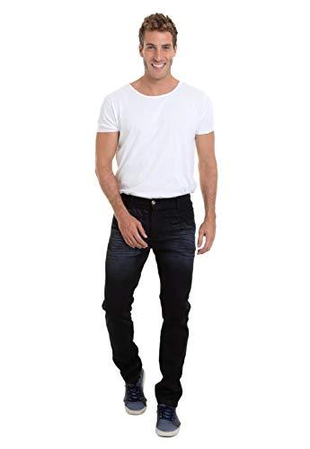Calça Jeans Masculina Versatti Reta Slim Lavagem Azul Escuro Los Angeles 48