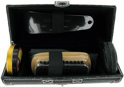 Sarome UK Sarome UK 5 Piece Shoe Shine Gift Set in Black Leather Pouch SHO1 by Chichi Gifts