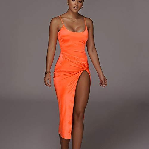 Hübsche Kleid Kleider Dress Damen Solide Fliege Seite Hoch Geschlitzte Frauen Midi Kleid Riemen Bodycon Rückenfrei Sexy Party Elegante Kleidung Club S Orange
