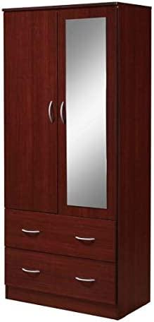 Hodedah 2 Door 2 Drawers Mirror and Clothing Rod Armoire product image