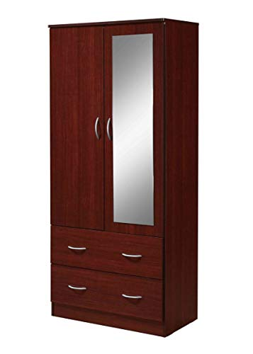 Hodedah 2-Door 2-Drawers, Mirror and Clothing Rod Armoire