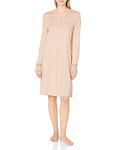 Hanro Women's Flora Long Sleeve Henley Gown Nightgown, Easy Rose, Large
