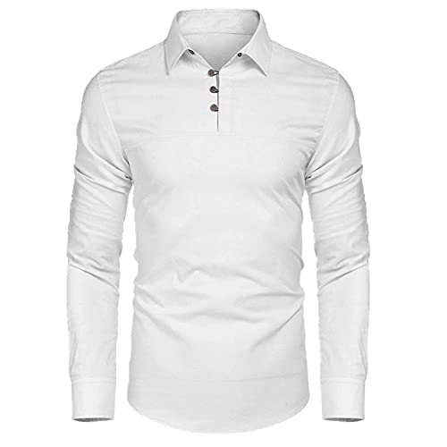 N\P Camisa de manga larga para hombre, blanco, M