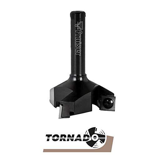 TORNADO Fraiser Fresa per spianare legno massello per Fresatrice verticale legno, diametro 35mm e FRESA PER LEGNO gambo 8mm, con 3 coltellini intercambiabili in metallo duro 10.5x10.5mm