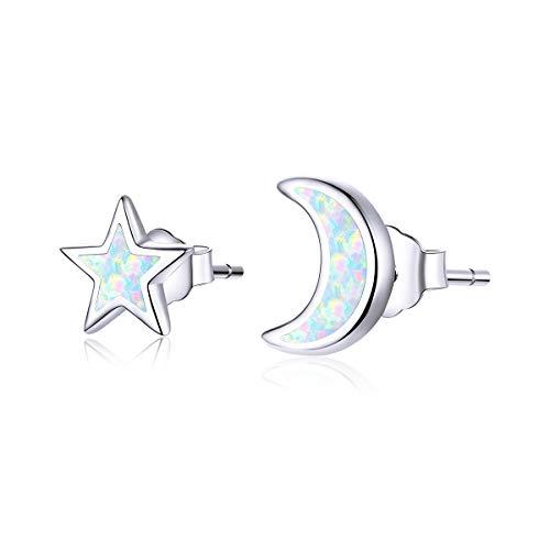 Qings Pendientes Estrella y Luna de Moda Pendientes Asimétricos de Plata de Ley 925 Envía Novia y Madre