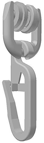 Gardineum 100 x T-Rollen (70-842) mit Faltenhaken Vorhangschienen Zubehör für T-Schienen weiß