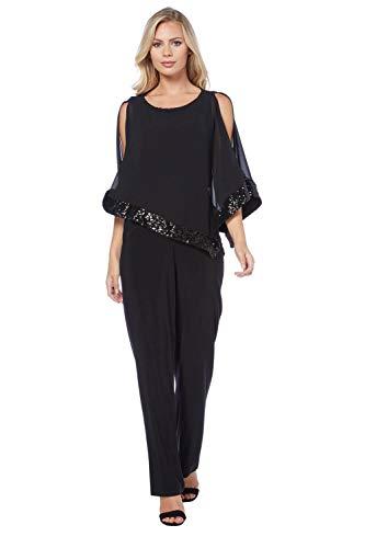 Roman Originals Femme Combinaison Doublé en Sequin - Strass Pantalon Stretch Confortable Léger Soirée Elegant Cocktail - Noir - Taille 44