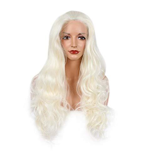Souple Fashian Big Wavy longue perruque de cheveux bouclés Perruque en dentelle avant fashion (Couleur : Creamy-white)