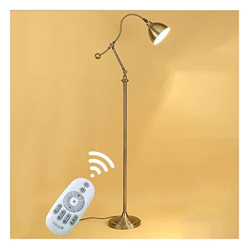 Staande lamp staande lamp retro woonkamer slaapkamer brons leeslamp LED verticale retro verstelbare lampenkop verticale tafellamp afstand dimming LED