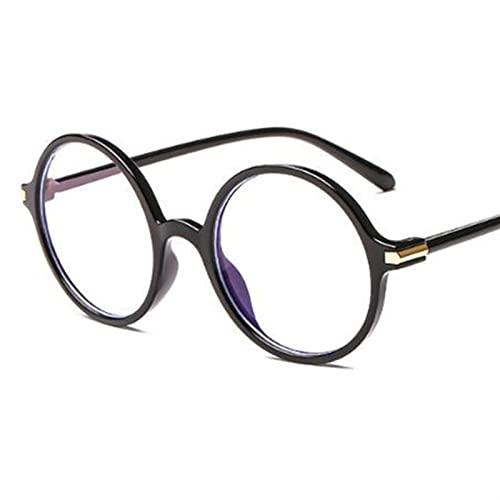 Gafas de Lectura, Gafas Redondas Black Vintgae, Vidrios Blue Light Blocking, Frames De Espectáculo Grande Lentes Ópticos (Color : Bright Black Clear, Size : +3)