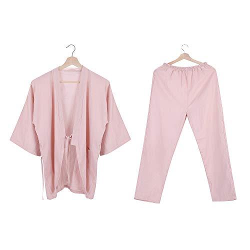 Katoen Kimono Robe Pak Korte Jurk pyjama Badjas en Broek Pak Losse Japanse Slaapmode Zachte Casual Yukata met Riem Pocket voor Mannen Vrouwen Bad Spa Verpleging 4 Seizoenen