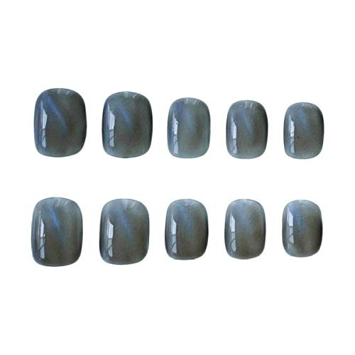 CLOAAE 24Pc/box Blue Cat Eye Fake press on Nail Short Square acrylic nail tips Phototherapy Full Cover fake nail with 2g for girls