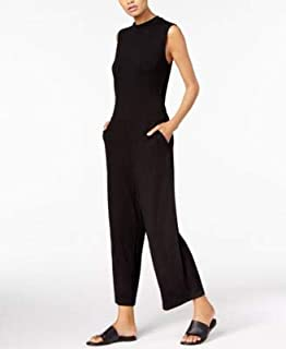 EILEEN FISHER Womens Black Mock Neck Sleeveless Cropped Jumpsuit US Size: L