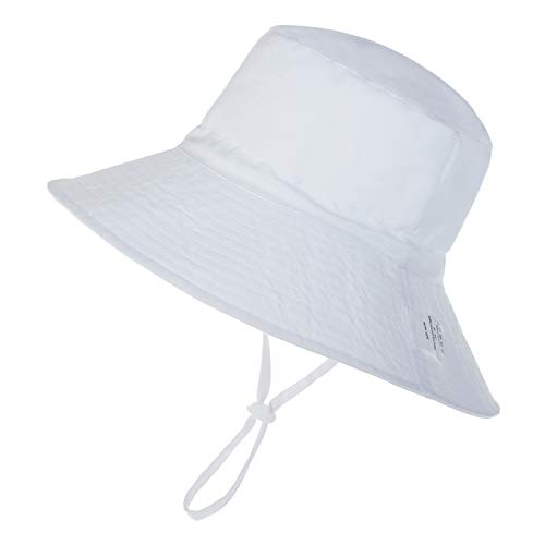 Baby Sun Hat Toddler Summer UPF 50+ Sun Protection Baby Boy Hats Beach Hats Wide Brim Bucket for Baby Girl Adjustable Kid Cap White Medium