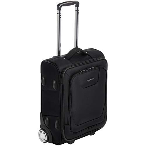 Amazon Basics – Maleta blanda expansible apta para cabina de pasajeros con candado TSA y ruedas, 48 cm, negro