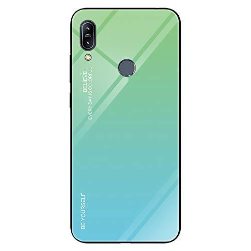 Alsoar - Funda ultrafina para teléfono móvil para Galaxy A20e - Funda protectora Gradient 9H de cristal templado con marco de silicona suave antigolpes y antiarañazos Verde Ciano