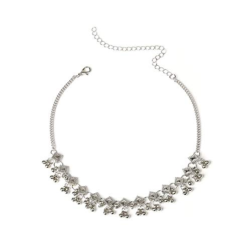 Jewelry Women Fashion Geometric Rhombus CCB Beads Charm Collar Choker Necklace Jewelry,Colour:Silver (Color : Silver)