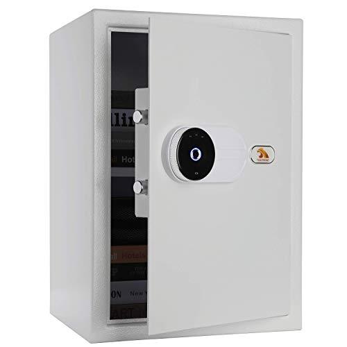 TIGERKING Large Biometric Safe Fingerprint Safe Security Safe Box Safes for Home, Hotel, Office-White
