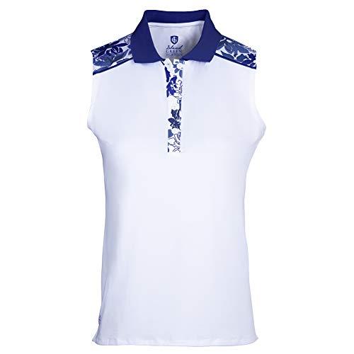 Island Green IGLTS2057 - Polo para Mujer con Estampado Floral, Transpirable, sin Mangas, Color Blanco/Azul Marino, XL