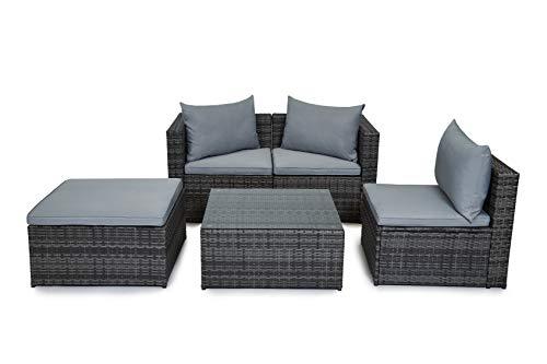 EVRE Outdoor Rattan Garden Furniture Set Grey Malaga Conservatory Patio Sofa coffee table