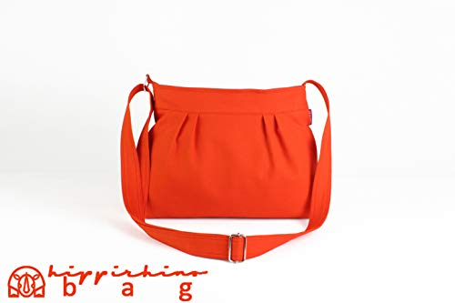 Orange Small Canvas Bag Shoulder Purse Everyday Bag Fully Lined Pleated Cotton Casual Bag Colorful Washable All My Bags Are Made After Order