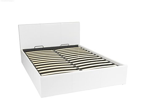 Bett – 140×190 – weiß – Bettgestell mit Aufbewahrung – Bettkasten Inhalt 798 Liter – Material A++ Qualität Lederoptik – Funktionsbett – Stahlrahmen mit Holz – Lattenrost - 4