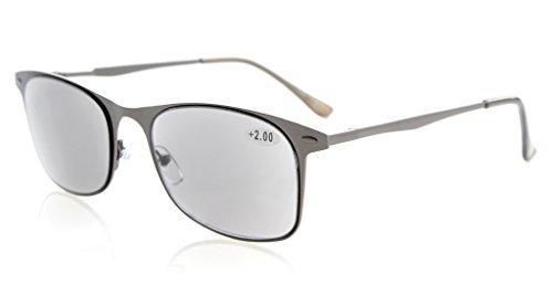 Eyekepper Lettori Qualità Primavera aste in metallo Lettura occhiali da sole Grigio Lens Lettori +0.75