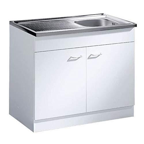 Küche-Spülenschrank/ Mehrzweckschrank 80x50 Start Melamin weiß/weiß
