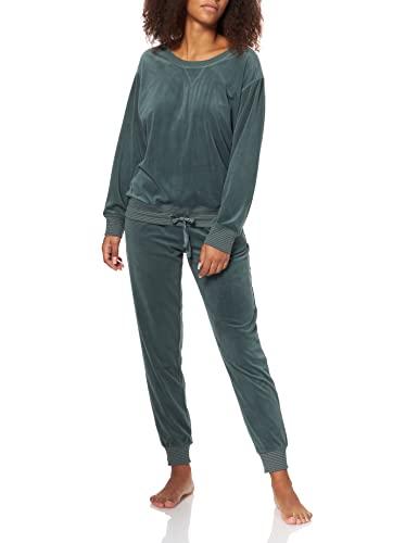 Triumph Damen Sets PK Velour Pyjamaset, Smoky Green, 42