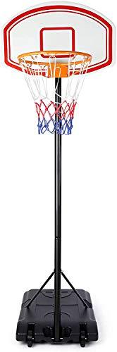 Soporte de baloncesto para niños, soporte de baloncesto de la rueda, la base se puede llenar con agua, la cesta es alta de 173 a 213 cm ajustable,Red