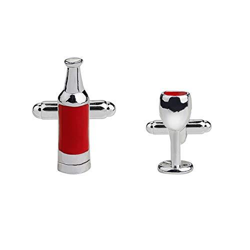 BHXRODE - Gemelos para Copa de Vino, 2 Unidades, Juego de Gemelos a Juego con botón de Manga para Amigo, cumpleaños, decoración de Bodas y Fiestas