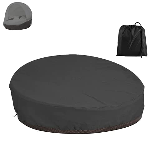 Patio Day bed Cover Round Oxford Waterproof Dustproof Daybed Garden Furniture Covers with Storage Bag for Rattan Day Bed Sofa (Black)