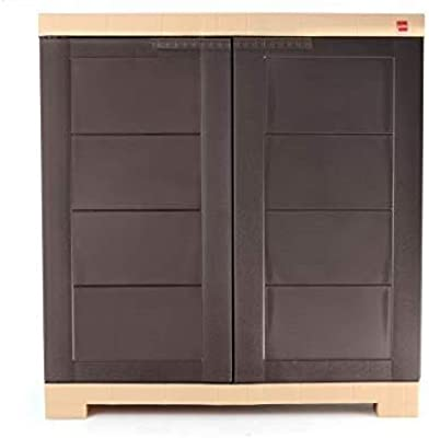 Cello Novelty Compact Plastic Cupboard with Shelf(Brown and Beige)