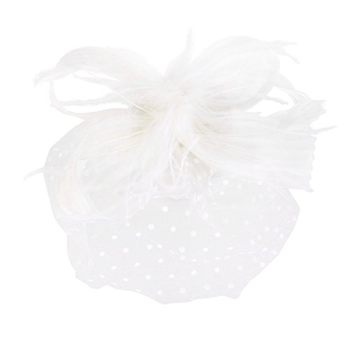 NUOLUX Fascinator Stirnbänder, Fascinator Hut, Braut Gesicht Schleier Feather Fascinator Haar Clip(White)
