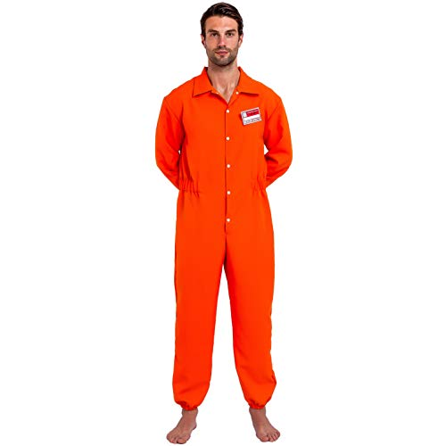 Prisoner Jumpsuit Orange Prison Escaped Inmate Jailbird Coverall Costume with Name Tag (Large)