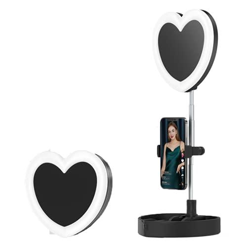Luz en Forma de Corazón de Selfie, Luz de Relleno Plegable de 7 Pulgadas con Varilla Telescópica de 59 cm y Clip de Teléfono, 3 Modos de Luz, Carga USB para Maquillaje, Fotografía, Tiktok