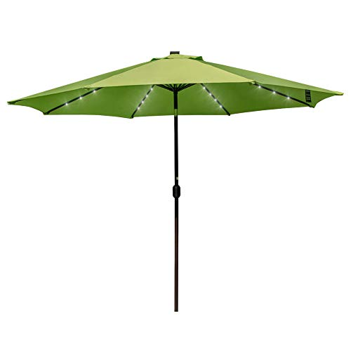 Sundale Outdoor 11FT 40 LED Lights Aluminum Patio Market Umbrella with Crank and No Hand Push Tilt, Garden Pool Solar Powered Lighted Parasol (Apple Green)