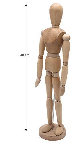 Meister Gliederpuppe 40cm hoch, Mannequin - Zeichenpuppe, aus feinem Samakholz - FSC, Ideal als Modell für Bewegungsstudien
