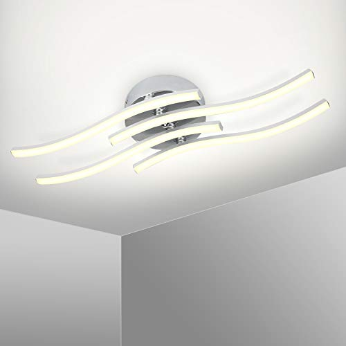 Kingwei Lámpara de techo LED 25W, Plafon led techo moderno 5500K Luz blanca, Plafones de techo de diseño curvo con 4 placas para salón dormitorio escalera pasillo
