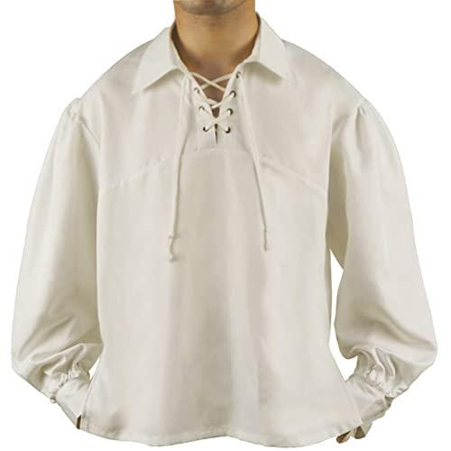 CNLINAHOME Hombre Pirata Camisa De Manga Larga Vampire Medieval Renacimiento Retro Ropa Suelta Soporte Collar Tie Top Adulto Traje De Halloween White-XXL