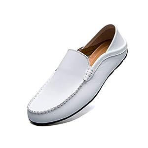 [Vocnako] 軽量 スリッポン 革靴 メンズ スリッポン 夏 メッシュサンダル ビジネスシューズ 通気性 白 27.0cm白44