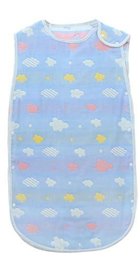 Chilsuessy Baby Sommer Schlafsack Ärmellos Frühjahr/Sommer Unwattiert Babyschlafsack für den Sommer 100% Baumwolle Kinder Schlafsack, Blaue Wolken, 60cm/Baby Höhe 50-70cm