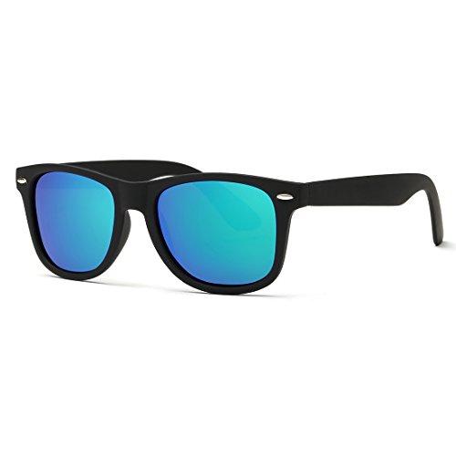 kimorn Polarizado Gafas De Sol Clásico Unisexo Cuerno Rimmed Años 80 Retro AE0300 (Negro&Azul verde, 52)